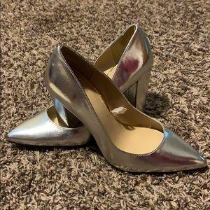Merona women's silver block heel pumps sz 9